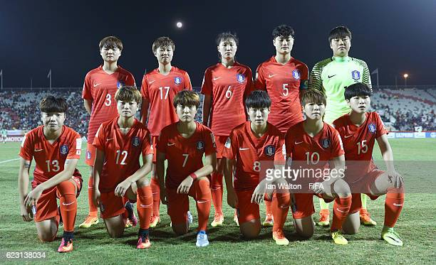 Korea Republic players line up during the FIFA U20 Women's World Cup Group D match between Mexico and Korea Republic at National Football Stadium on...
