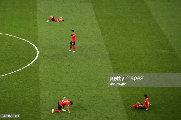 Korea Republic players look dejected following their sides defeat in the 2018 FIFA World Cup Russia group F match between Korea Republic and Mexico...