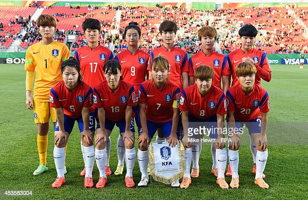 Korea Republic pose for a team photo prior to the FIFA U20 Women's World Cup Canada 2014 Group D match between Korea Republic and Mexico at the...