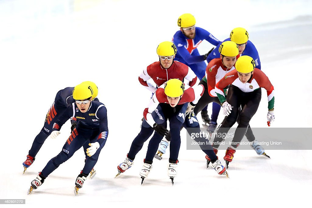 Korea, Russia, Great Britain and Hungary teams compete in the Men's 5000m Relay race during day 1 of the ISU World Cup Short Track Speed Skating on February 7, 2015 in Dresden, Germany.
