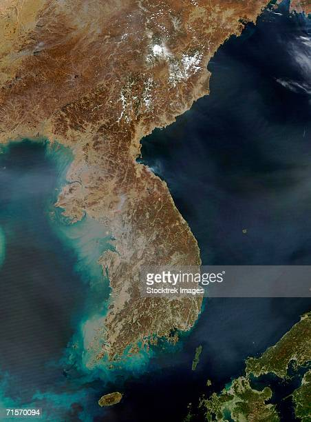"""korea, satellite image"" - peninsula stock pictures, royalty-free photos & images"
