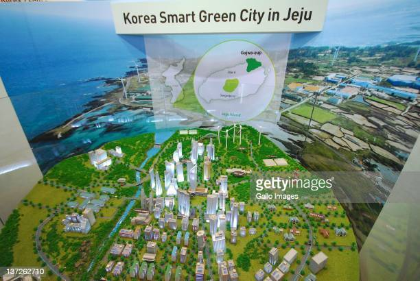 Korea Smart Green City Jeju display model during the 2012 World Future Energy Summit Day One held at the Abu Dhabi National Exhibition Centre on...