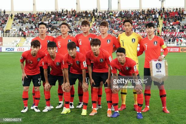 Korea team players team line up during the AFC Asian Cup Group C match between South Korea and China at Al Nahyan Stadium on January 16, 2019 in Abu...