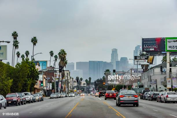 Korea Town Street in Los Angeles  California  USA