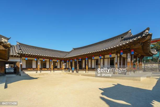 korea traditional house (hanok) - jeju stock photos and pictures