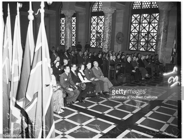 Korea war veterans on United Nations tourat City Hall 19 November 1951 Lieutenant Colonel Ernest L SmithHarold A Henry Acting MayorPetty Officer...
