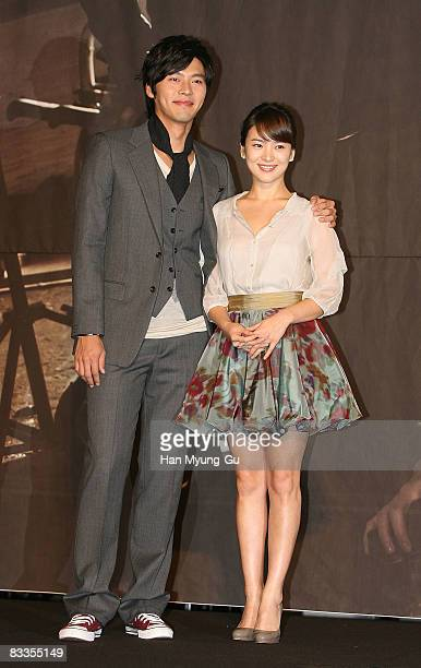 Korean actor Hyun Bin and actress Song HyeGyo attends KBS's new drama Worlds Within press conference at JW Mariott Hotel on October 20 2008 in Seoul...