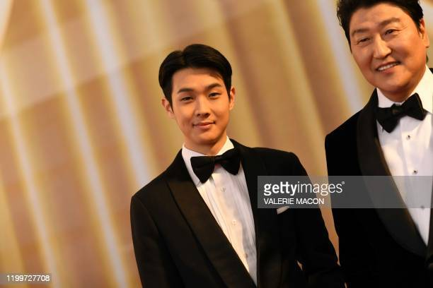 Korean actors Choi Woo Sik and KongHo Song from Parasite arrive for the 92nd Oscars at the Dolby Theatre in Hollywood California on February 9 2020