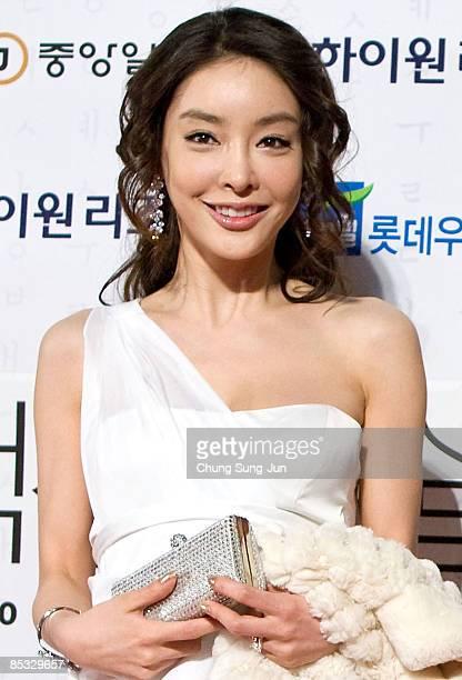 Korean actress Jang Ja-Yeon poses for photographs at the 45th Paeksang Art Awards at Olympic Hall on February 27, 2009 in Seoul, South Korea. It was...