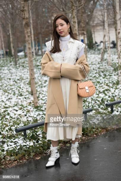 Korean actress Ki Eunse wears all Chloe day 4 of Paris Womens Fashion Week Spring/Summer 2018 on March 1 2018 in London England