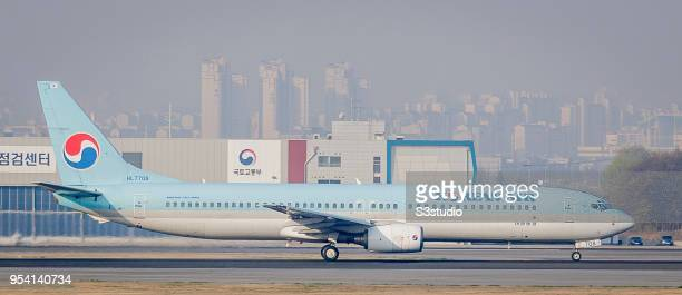Korean Air Boeing 737 in runway at Gimpo International Airport on 17 April 2018 in Seoul South Korea Korea's budget carriers are now expanding their...