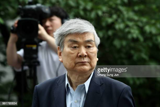 Korean Air chairman and CEO Cho YangHo arrives at the Seoul southern district court on July 5 2018 in Seoul South Korea Cho has been under...