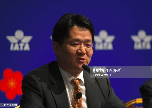 Korean Air chief executive Walter Cho speaks during a press conference after the opening session of the annual general meeting of International Air...