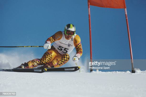 Korean alpine skier Hur Seungwook pictured during competition for the South Korea team to finish in 33rd place in the Men's giant slalom skiing event...