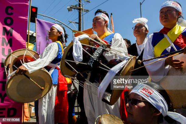Korean American musicians gather to perform at a peace rally at the intersection of Florence and Normandie on the 25th anniversary of the LA riots on...