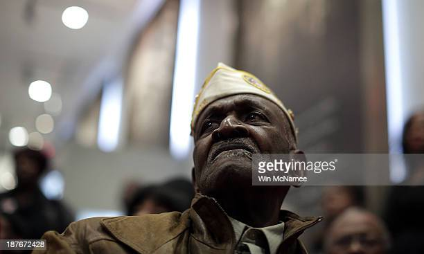 Korean and Vietnam War veteran James Patterson age 81 attends a ceremony commemorating Veterans Day and honoring the Tuskegee Airmen November 11 2013...