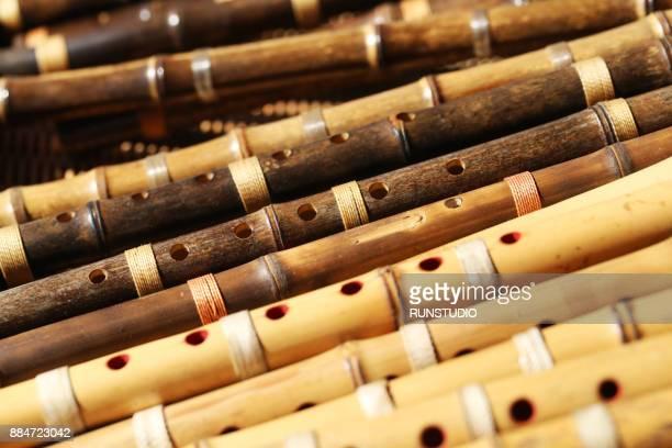 korean bamboo flute,danso - bamboo flute stock-fotos und bilder