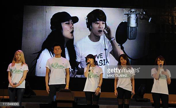 Korean band Wonder Girls perform at a charity concert at a park in Hong Kong on April 1 2011 'Artists 311 Love Beyond Borders' was held to raise...