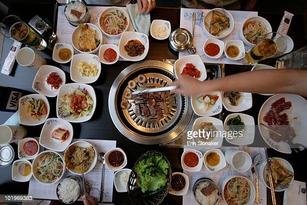 korean barbecue - korean culture stock pictures, royalty-free photos & images