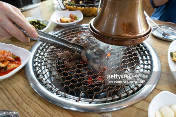 Korean BBQ in local restaurant in Seoul city in Korea