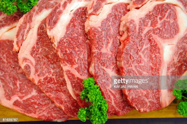Korean beef are displayed at a restaurant in Seoul on June 20 2008 The US and South Korea were close to reaching a path forward in their effort to...
