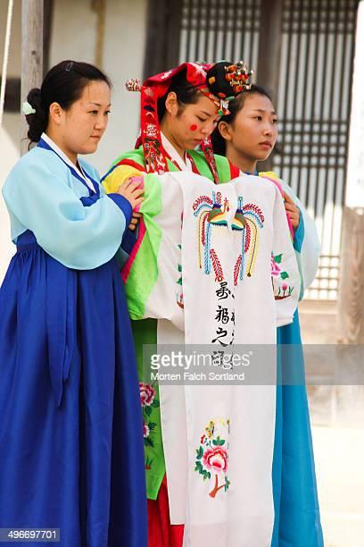 CONTENT] Korean bride in wedding ceremony in Hanbok the traditional Korean wedding costume