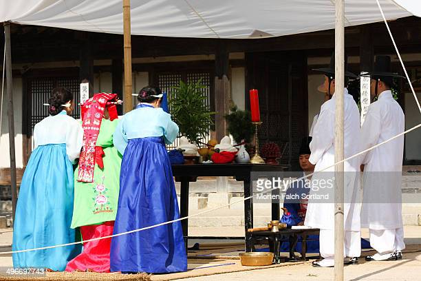 Korean bride in wedding ceremony in Hanbok, the traditional Korean wedding costume.
