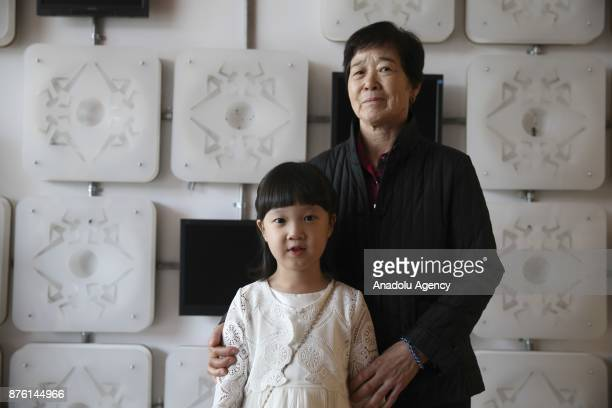 "Korean child actress Kim Seol and Korean actress Eunja Kim, players from the Turkish Movie ""Ayla"", pose during an exclusive interview with the..."
