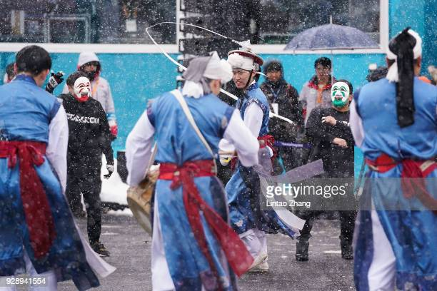 Korean dance group performing during the Welcoming Ceremony at the PyeongChang Olympic Village ahead of the PyeongChang 2018 Paralympic Games on...