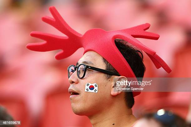 Korean fan shows his colours during the 2015 Asian Cup match between Australia and Korea Republic at Suncorp Stadium on January 17 2015 in Brisbane...