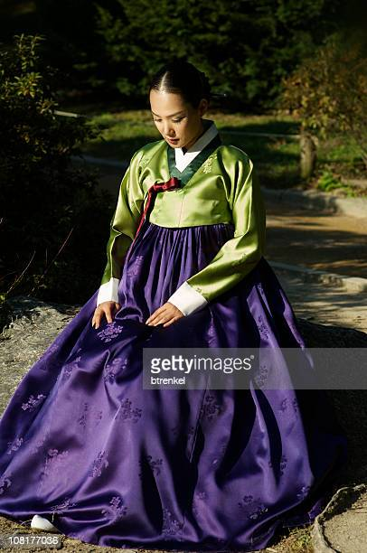korean female in hanbok - traditional clothing stock pictures, royalty-free photos & images