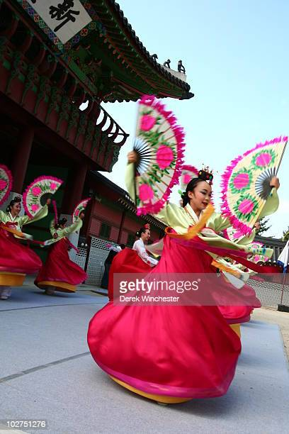 Korean flower dance Suwon South Korea This is a motion blur shot that accentuates the movement of the dancer