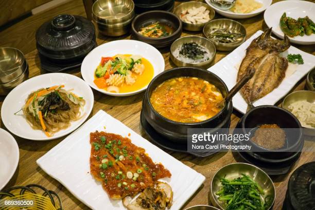 Korean Food Grilled Mackerel and Spicy Soft Tofu Soup