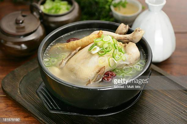 korean food, samgyetang - chicken soup stock photos and pictures