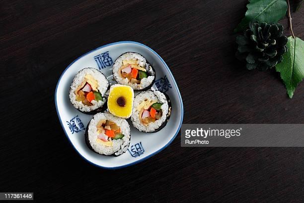 korean food,gimbap&rice cake - 韓国料理 ストックフォトと画像