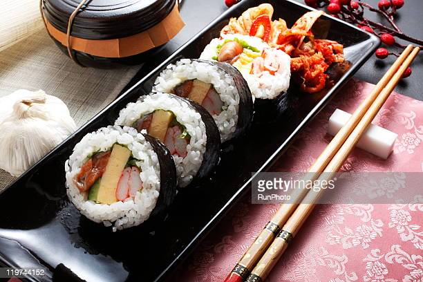 korean food,kimbap,onigiri - 韓国料理 ストックフォトと画像