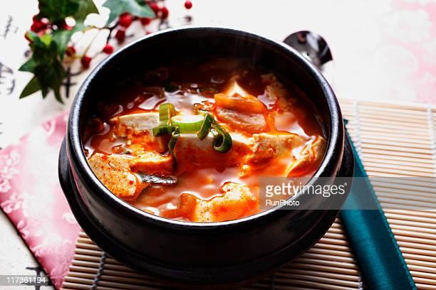 korean food,sundubu jjigae - 韓国料理 ストックフォトと画像