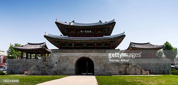 korean fortress gate in jeonju - jeonju stock photos and pictures
