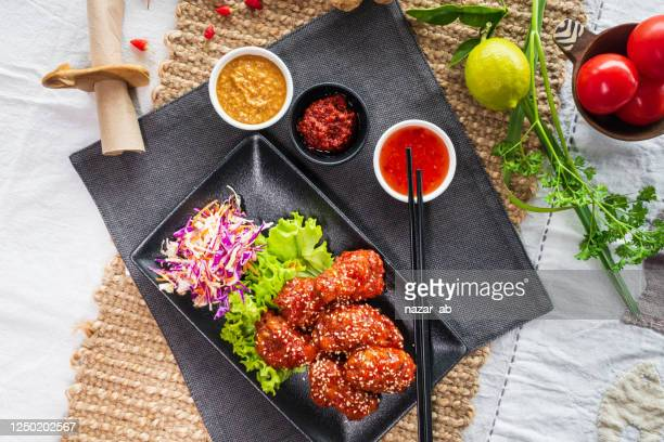 korean fried chicken. - korean culture stock pictures, royalty-free photos & images
