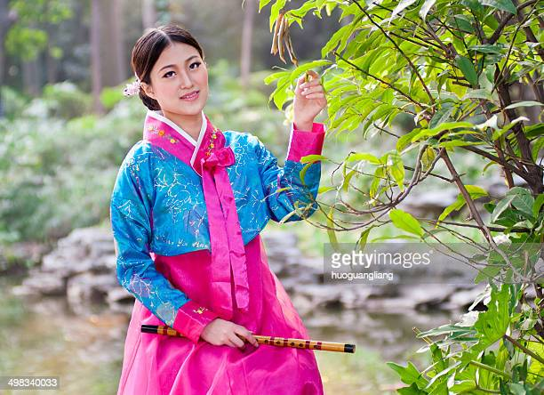 korean girl - bamboo flute stock photos and pictures