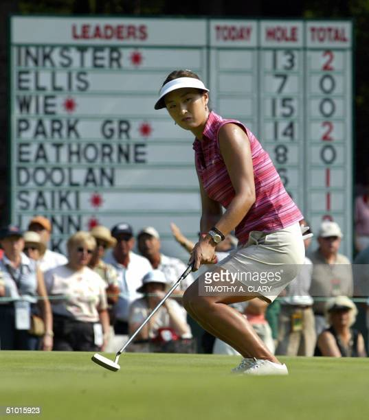 Korean golfer Grace Park misses a birdie putt on the 15th green during the first round at the US Women's Open at the Orchards Golf Club in South...