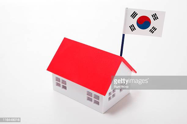 korean image,korean flag and house - runphoto ストックフォトと画像
