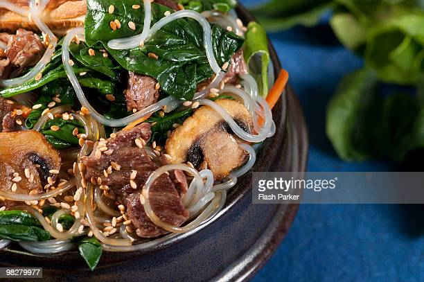 korean japchae - soy sauce stock photos and pictures