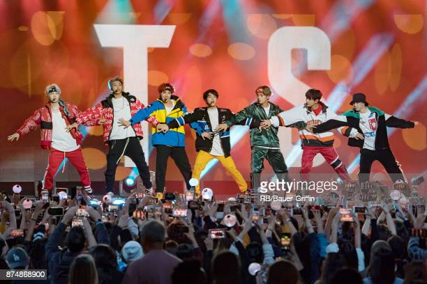 Korean K-pop band 'BTS' are seen at 'Jimmy Kimmel Live' on November 15, 2017 in Los Angeles, California.