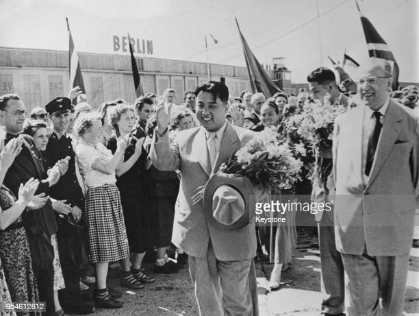 Korean leader Kim Il-Sung arrives at Schönefeld Airport in East Berlin, and is welcomed by Otto Grotewohl , Prime Minister of the German Democratic...