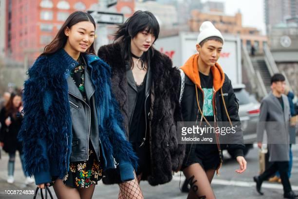 Korean models Yoon Young Bae Sora Choi Sohyun Jung after Michael Kors at Spring Studios on Day 7 of New York Fashion Week Fall/Winter 2017 on...
