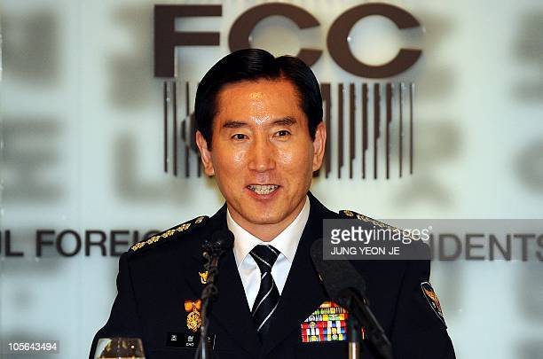 Korean National Police Agency's chief Cho Hyun-Oh speaks at a press conference in Seoul on October 18, 2010. South Korea will deploy a record 50,000...