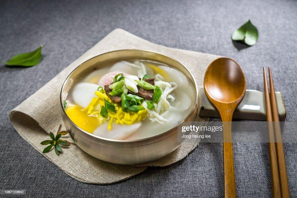 Korean New Year's Food, rice cake soup(Tteok-guk) : Stock Photo