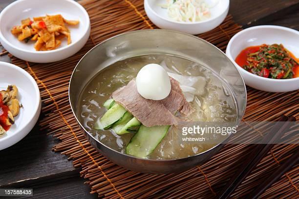 Korean noodle meal in bowl pot
