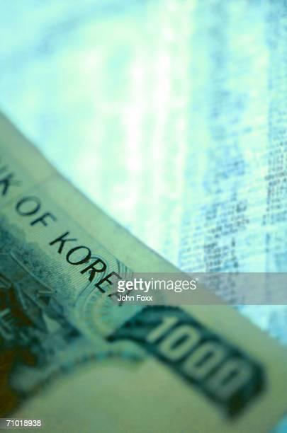 korean one thousand note, close-up - korean currency stock photos and pictures